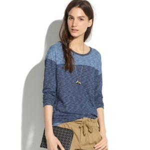Madewell Blue Indigo Striped Quarter Sleeve Shirt